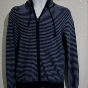 Gap Full Zip Sweater Mens Size Small Blue Strp Nwt